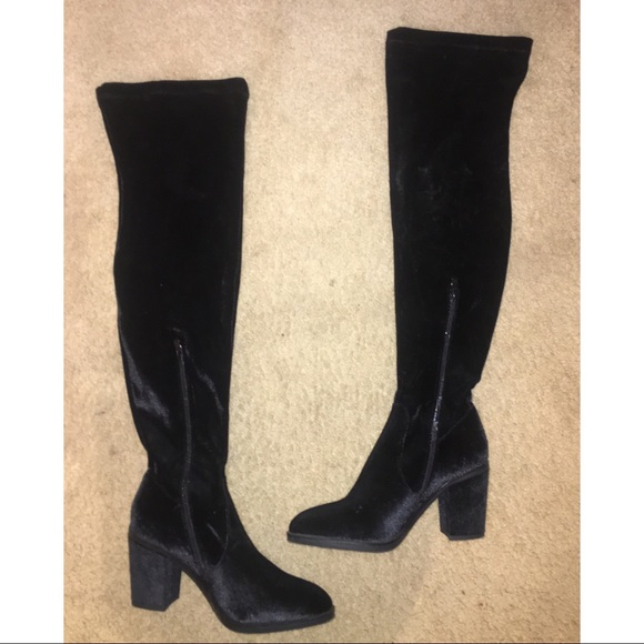 8fcdcde4fc4 Amiclubwear Shoes - Black Faux Velvet Thigh High Boots
